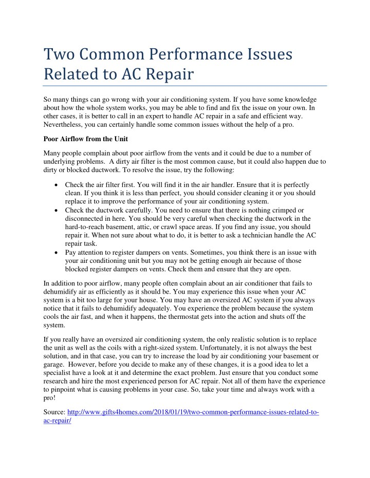 two common performance issues related to ac repair n.