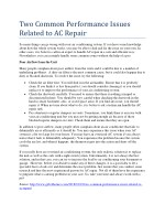 two common performance issues related to ac repair