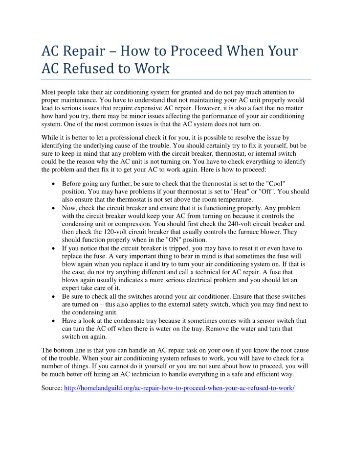 ac repair how to proceed when your ac refused n.