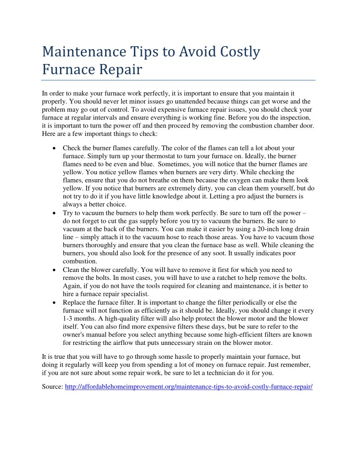 maintenance tips to avoid costly furnace repair n.