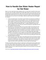 how to handle gas water heater repair
