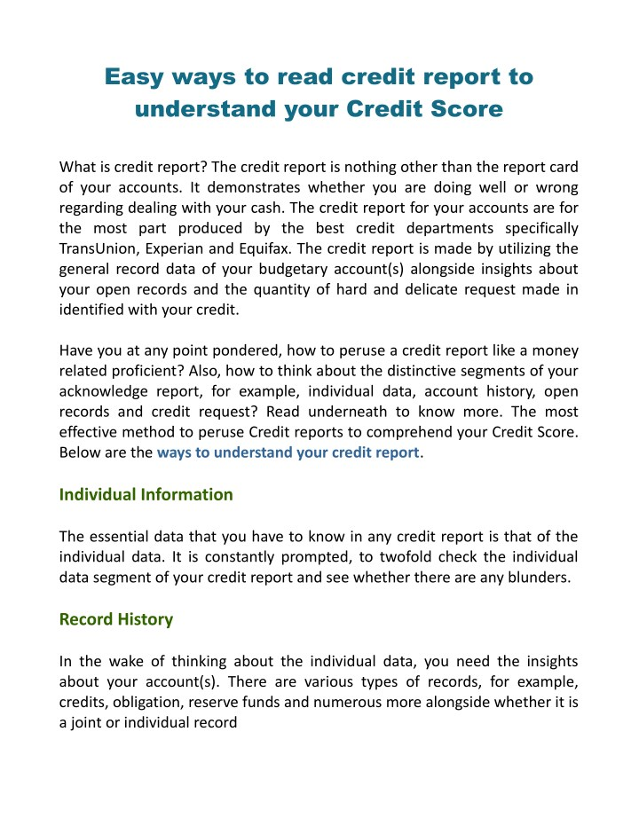 easy ways to read credit report to understand n.