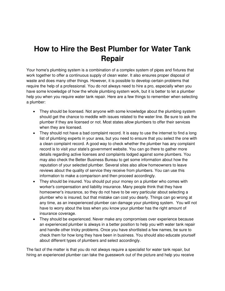 how to hire the best plumber for water tank repair n.