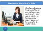 6 completing administrative tasks