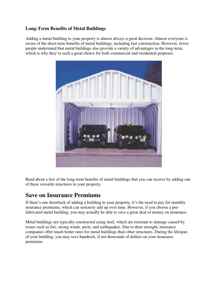 long term benefits of metal buildings n.