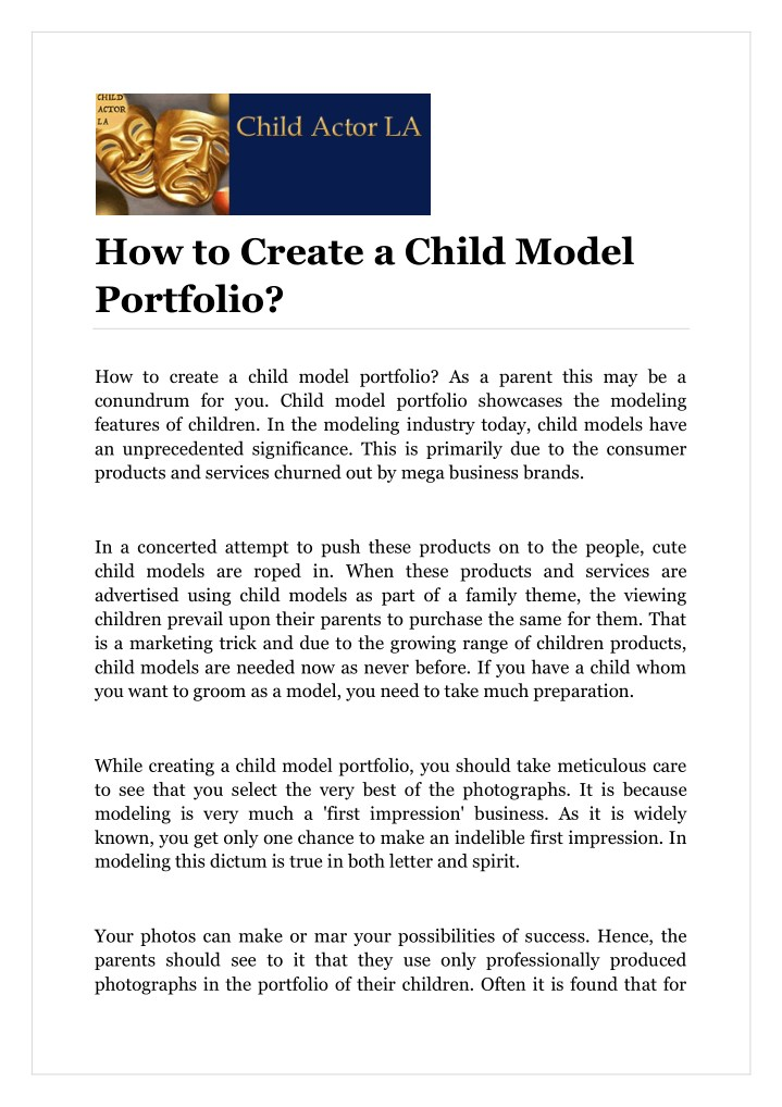 how to create a child model portfolio n.