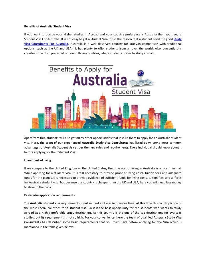 benefits of australia student visa n.