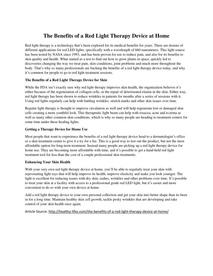 the benefits of a red light therapy device at home n.