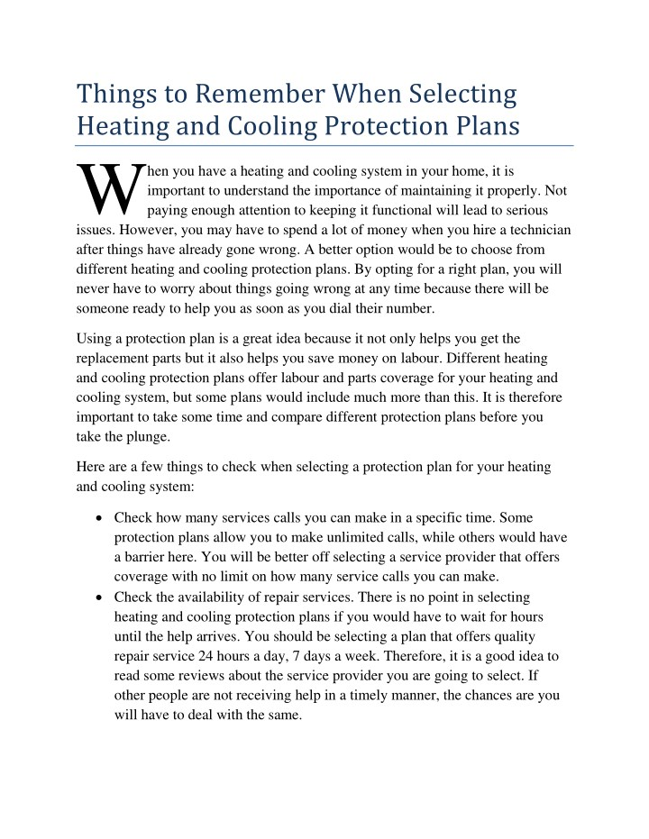 things to remember when selecting heating n.