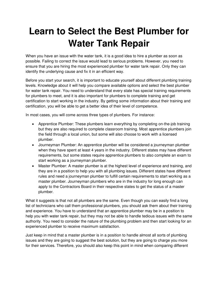learn to select the best plumber for water tank n.