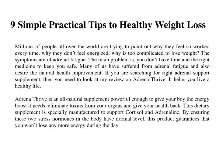 9 simple practical tips to healthy weight loss n.