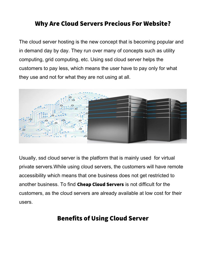 why are cloud servers precious for website n.