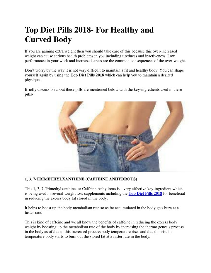 top diet pills 2018 for healthy and curved body n.