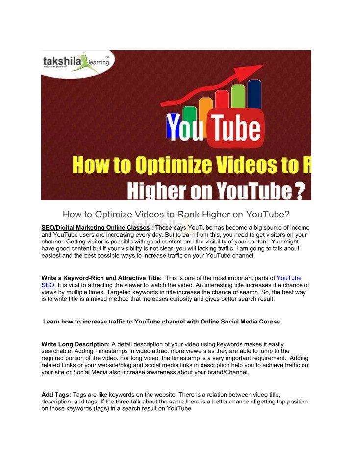 how to optimize videos to rank higher on youtube n.