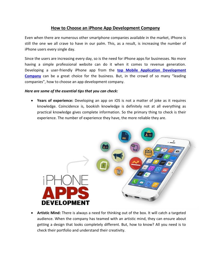 how to choose an iphone app development company n.