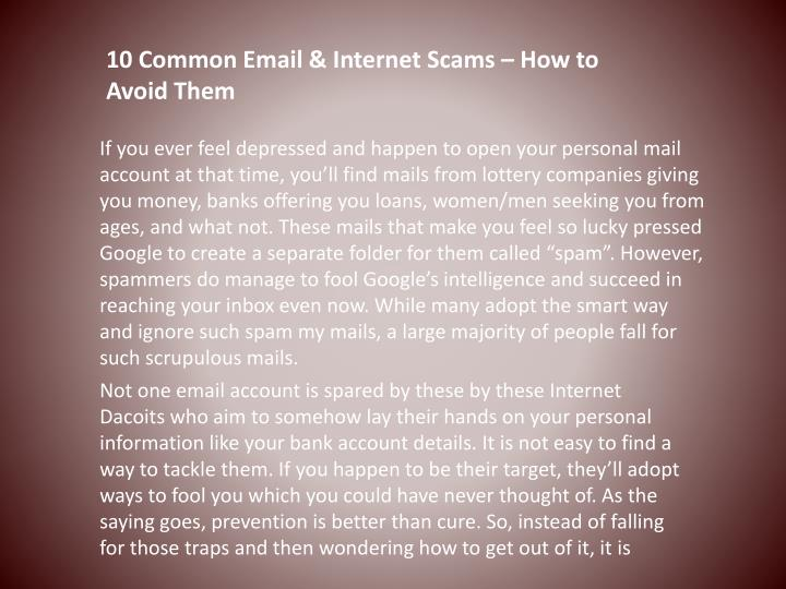 10 common email internet scams how to avoid them n.