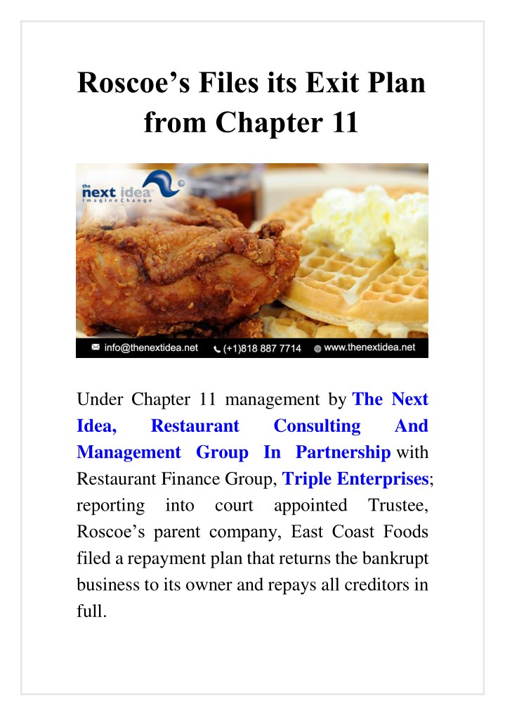 roscoe s files its exit plan from chapter 11 n.