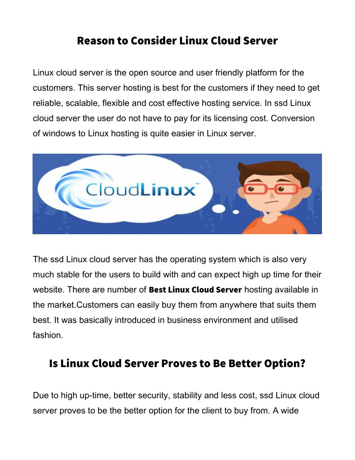 reason to consider linux cloud server n.