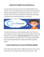 reason to consider linux cloud server