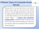 different types of corporate events we do