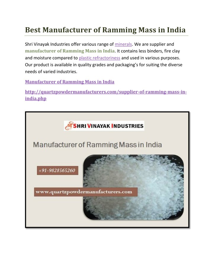 best manufacturer of ramming mass in india n.