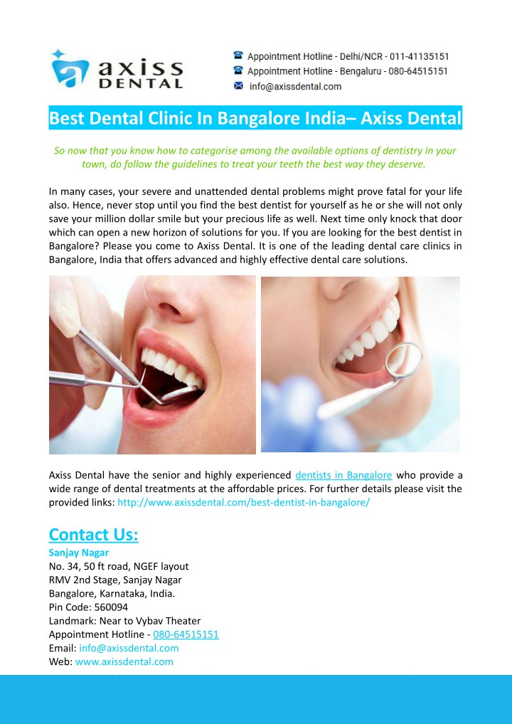 best dental clinic in bangalore india axiss dental n.