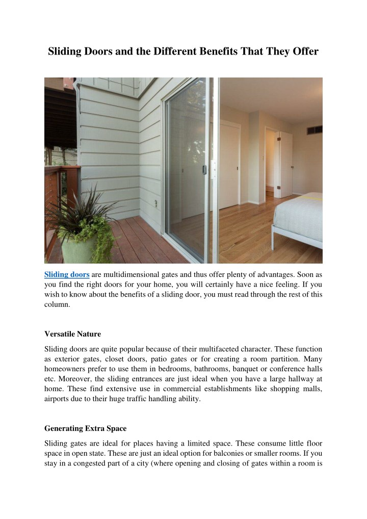 sliding doors and the different benefits that n.