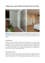 sliding doors and the different benefits that