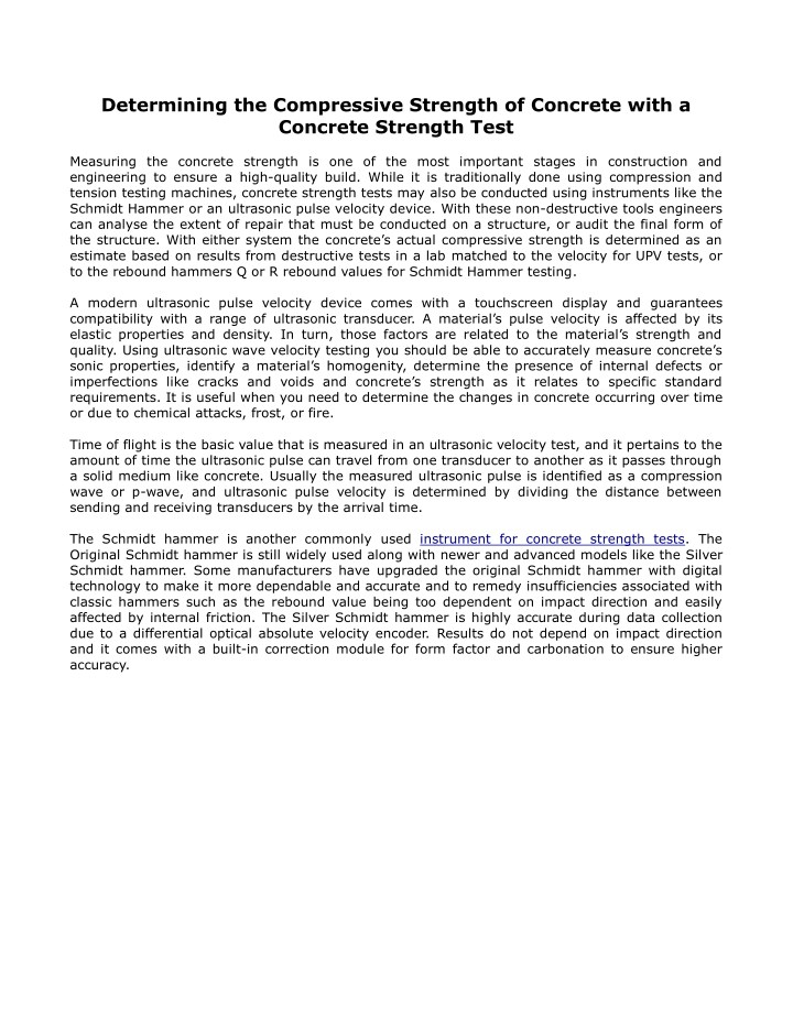 determining the compressive strength of concrete n.