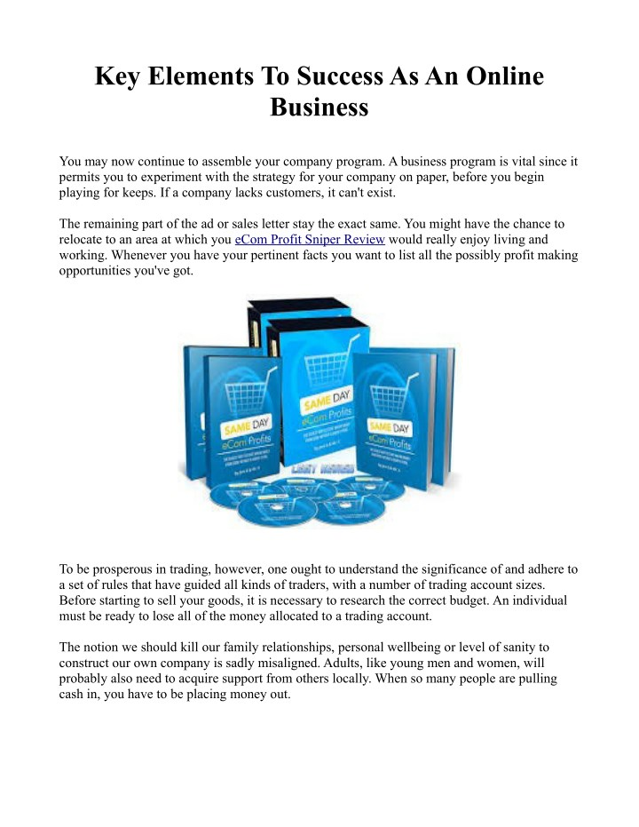 key elements to success as an online business n.