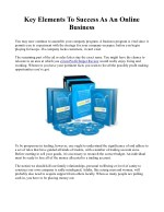 key elements to success as an online business