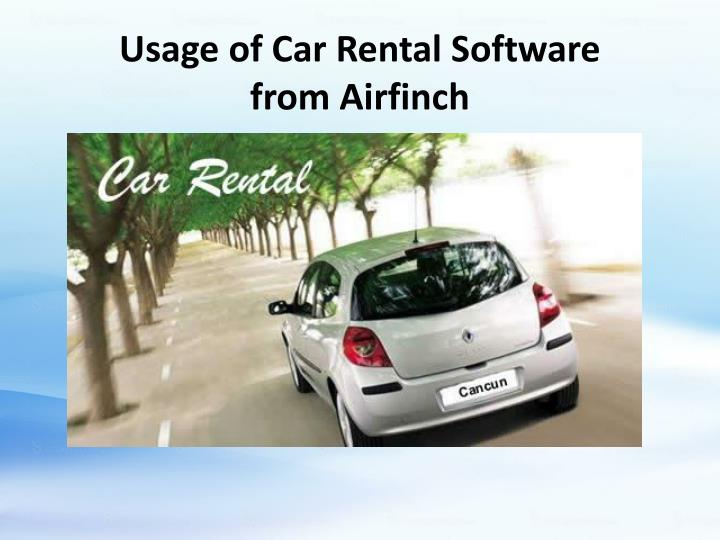 usage of car rental software from airfinch n.
