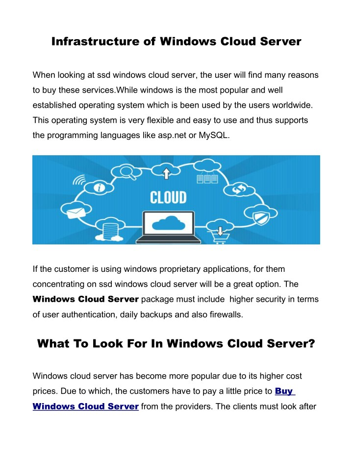 infrastructure of windows cloud server n.