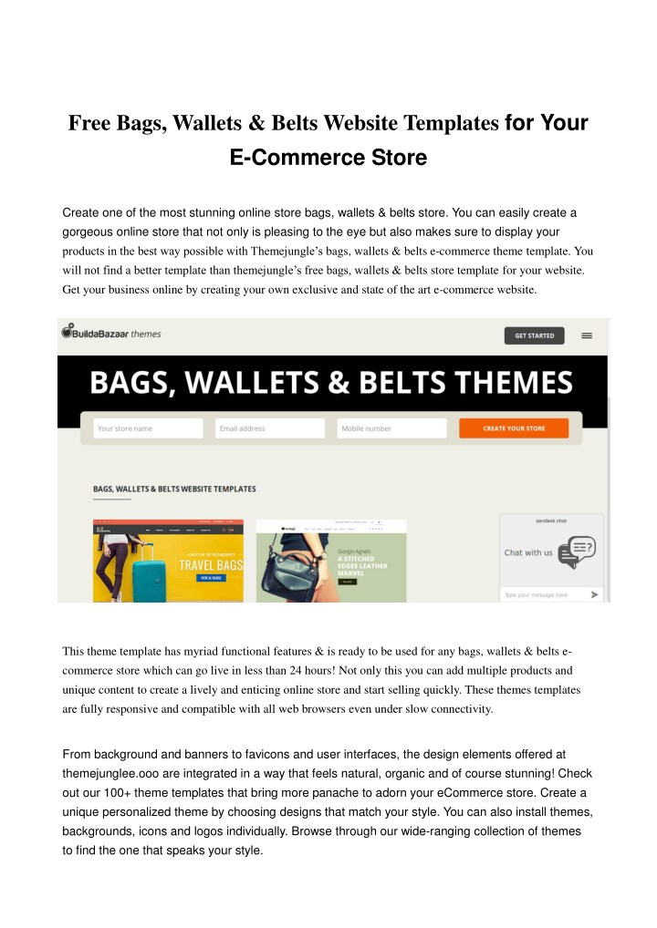 free bags wallets belts website templates n.