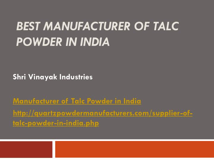 best manufacturer of talc powder in india n.