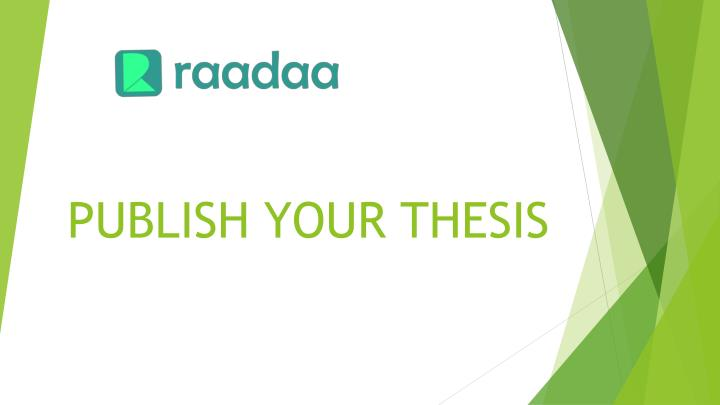 publish your thesis n.