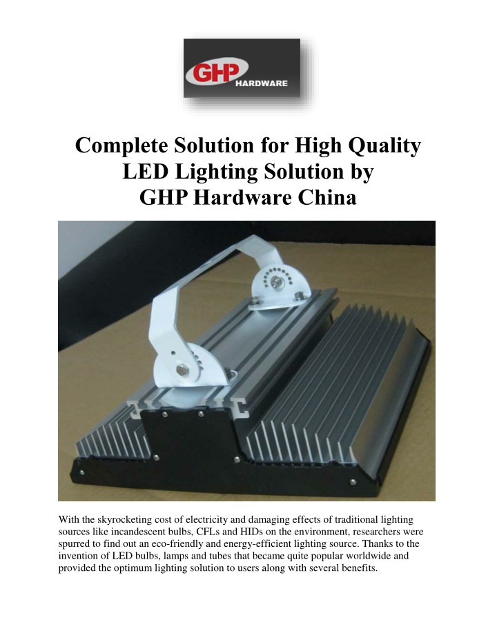 complete solution for high quality led lighting n.