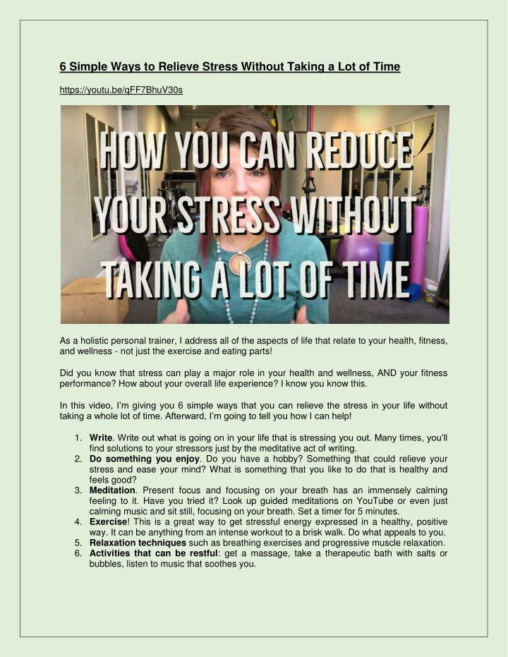 6 simple ways to relieve stress without taking n.
