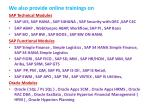 we also provide online trainings on sap technical