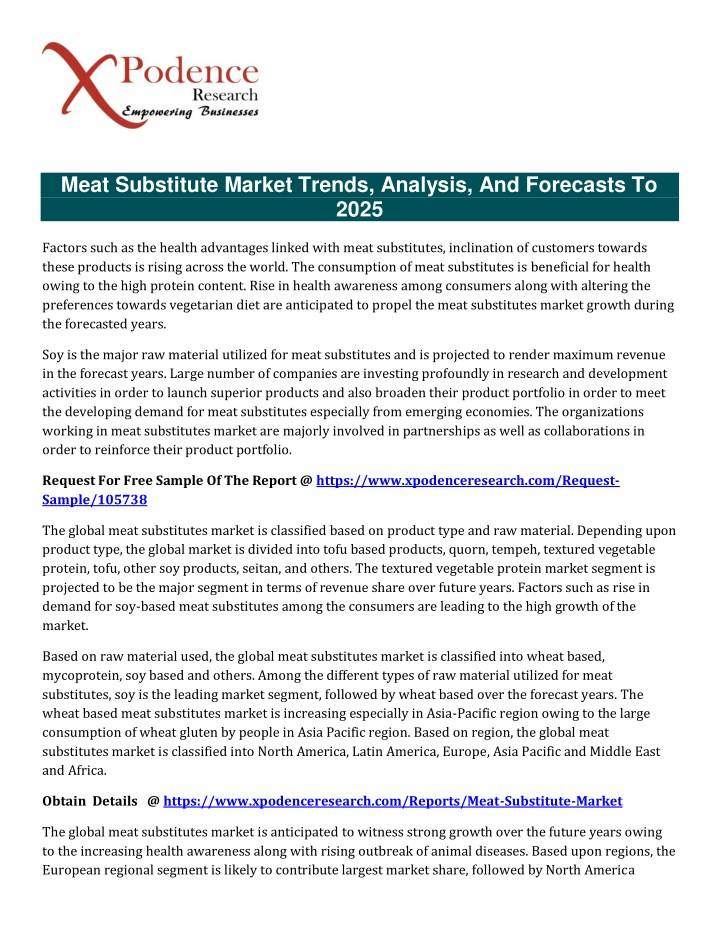 meat substitute market trends analysis n.