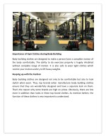 importance of gym clothes during body building