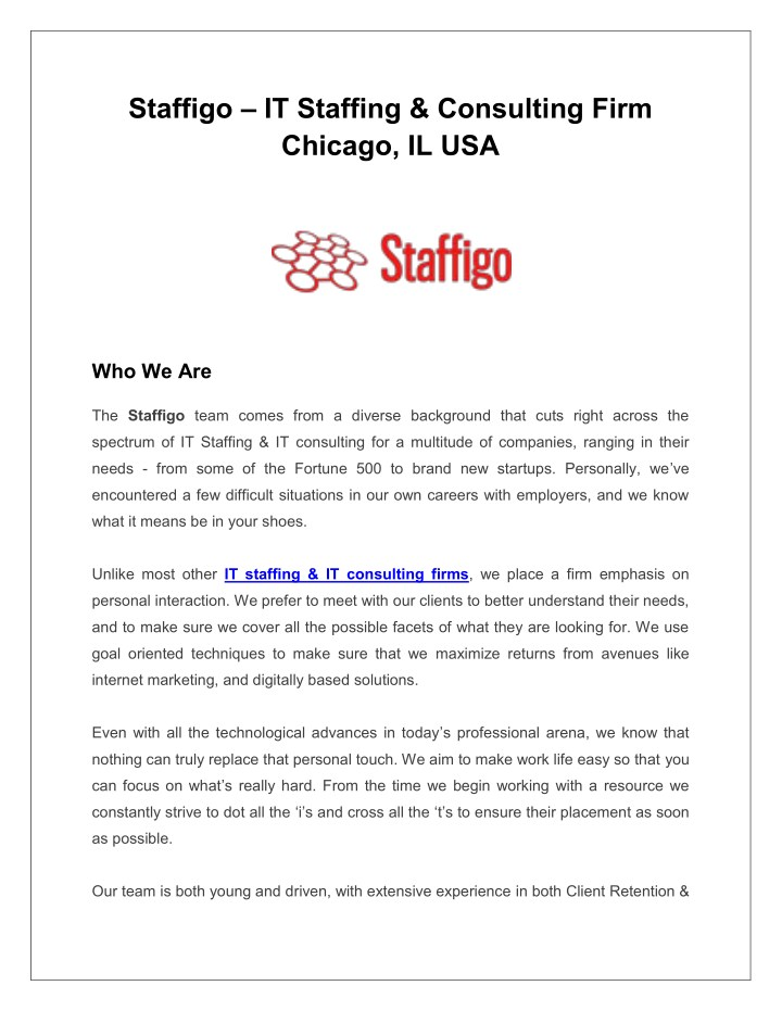 staffigo it staffing consulting firm chicago n.