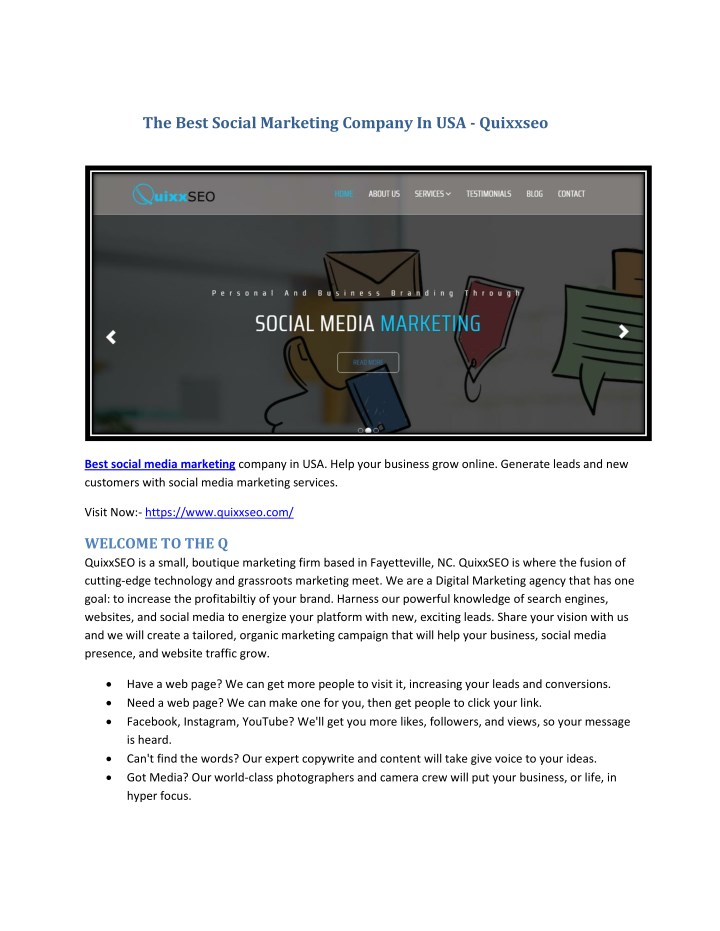 the best social marketing company in usa quixxseo n.