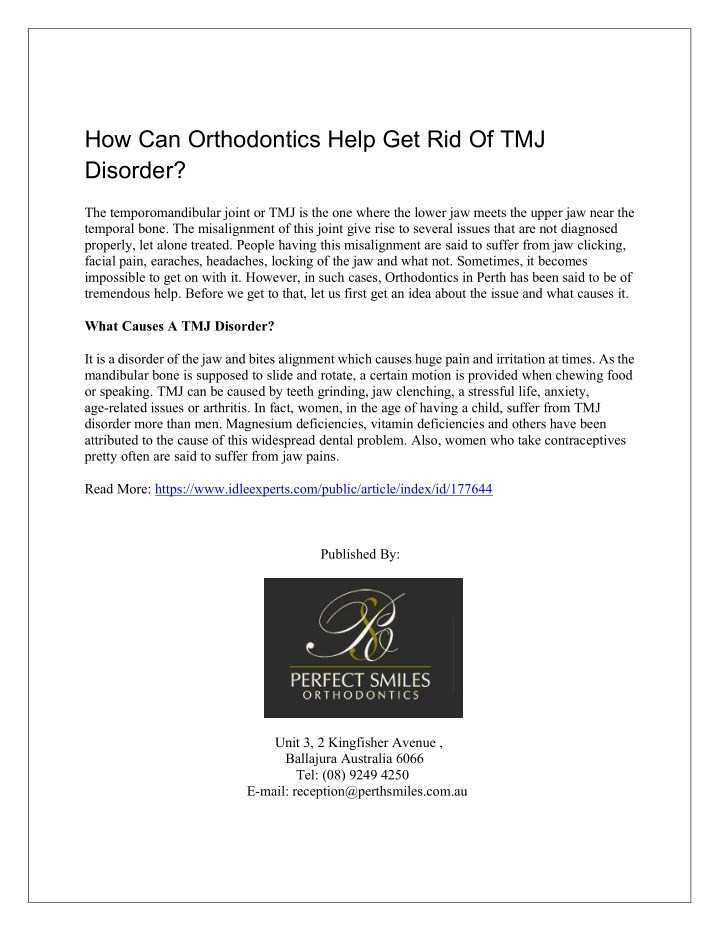 how can orthodontics help get rid of tmj disorder n.