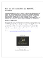 how can orthodontics help get rid of tmj disorder