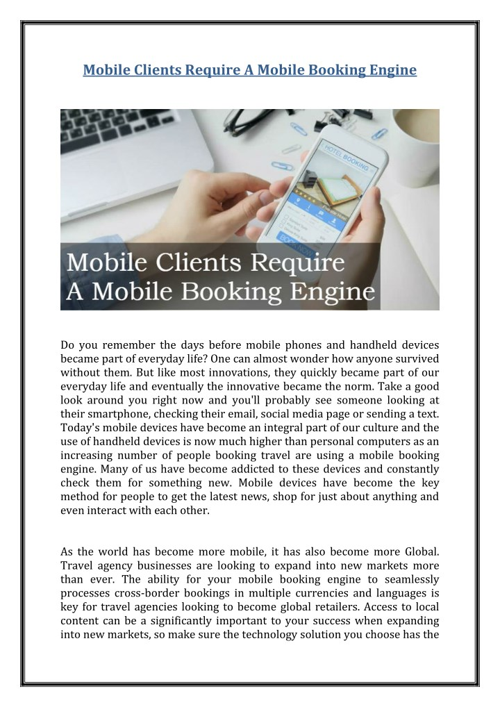 mobile clients require a mobile booking engine n.