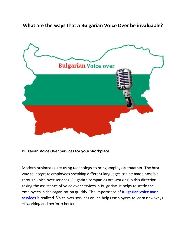 what are the ways that a bulgarian voice over n.