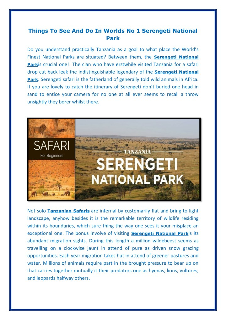 things to see and do in worlds no 1 serengeti n.