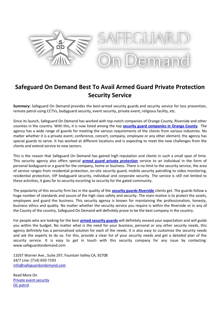 safeguard on demand best to avail armed guard n.