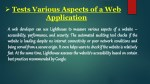 tests various aspects of a web application